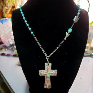 Rosary style Cross necklace